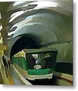 Paris Train In Fisheye Perspective Metal Print