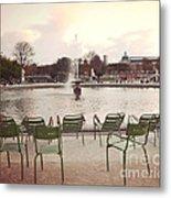 Paris Tuileries Garden Park Fountain Green Chairs - Paris Autumn Fall Tuileries - Autumn In Paris Metal Print
