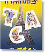 Paris Vintage Travel Poster Metal Print