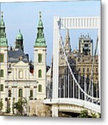 Parish Church And Elizabeth Bridge In Budapest Metal Print
