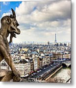 Parisian Gargoyle Admires The Skyline Metal Print