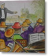 Parisian Hat Band Across From Notre Dame Cathedral Metal Print