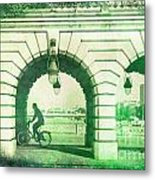 Parisien Cyclist Metal Print
