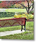 Park Bench By The Pond Metal Print