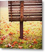 Park Bench In Autumn Metal Print by Edward Fielding