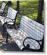 Park Benches At Portland Waterfront Park Metal Print