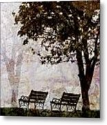 Park Benches Square Metal Print