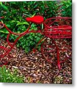 Parked Red Bicycle Metal Print