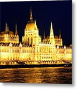 Parliament Building At Night In Budapest Metal Print