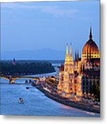 Parliament Building In Budapest At Evening Metal Print