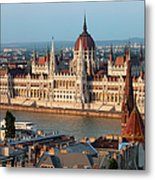Parliament Building In Budapest At Sunset Metal Print