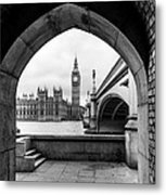 Parliament Through An Archway Metal Print
