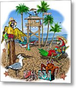 Parrot Beach Party Metal Print