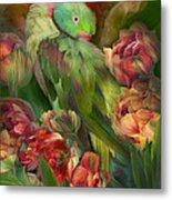 Parrot In Parrot Tulips Metal Print