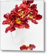 Parrot Tulips In A Milk Jug Metal Print