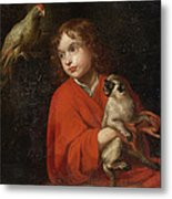 Parrot Watching A Boy Holding A Monkey Metal Print