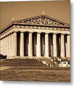 Parthenon In Sepia 3 Metal Print