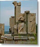 Partially Restored Fountain Of Trajan In Ephesus-turkey Metal Print