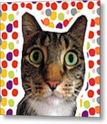 Party Animal - Smaller Cat With Confetti Metal Print