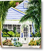 Pass-a-grille Cottage Watercolor Metal Print