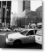 Passenger Gets Out Of Rear Door Of Yellow Taxi Cab On 7th Avenue New York City Usa Metal Print