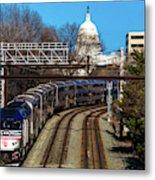 Passenger Metro Train With Us Capitol Metal Print