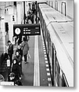 passengers along ubahn train platform Friedrichstrasse Friedrichstrasse u-bahn station Berlin Metal Print