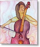 Passionate Cellist Metal Print
