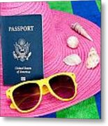 Passport On Pink Hat Metal Print