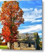 Past Its Prime I - A Barn In The Fall Metal Print