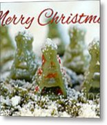 Pasta Christmas Trees With Text Metal Print