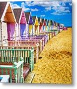 Pastel Beach Huts 2 Metal Print