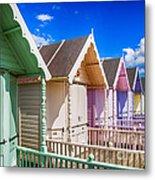 Pastel Beach Huts 3 Metal Print