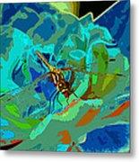 Pastel Dragonfly Rose Metal Print