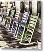 Pastel Rocking Chairs Metal Print