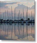 Pastel Sailboats Reflections At Dusk Metal Print