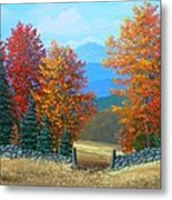 Pasture Gate In Autumn Metal Print