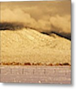 Pasture Land Covered In Snow At Sunset Metal Print
