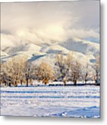 Pasture Land Covered In Snow With Taos Metal Print