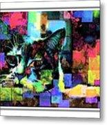 Patchwork Kitty Metal Print