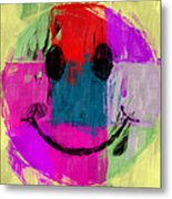 Patchwork Smiley Face Metal Print