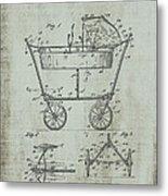 Patent Art Mahr Baby Carriage 1922 Green Metal Print