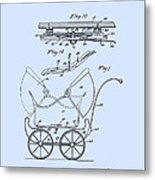 Patent Art Robinson Baby Carriage Blue Metal Print