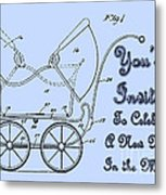 Patent Art Robinson Baby Carriage Invite-blue Metal Print