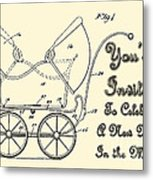 Patent Art Robinson Baby Carriage Invite Yellow Metal Print