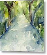 Path Conservatory Garden Central Park Watercolor Painting Metal Print
