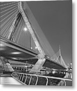 Path To The Leonard P. Zakim Bridge Bw Metal Print