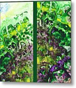 Path To The Unknown Diptych In Green Metal Print
