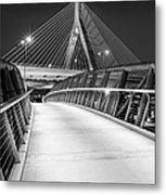 Path To The Zakim Bridge Bw Metal Print