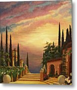 Patio Il Tramonto Or Patio At Sunset Metal Print by Evie Cook